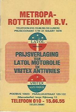 Prijscourant 1978